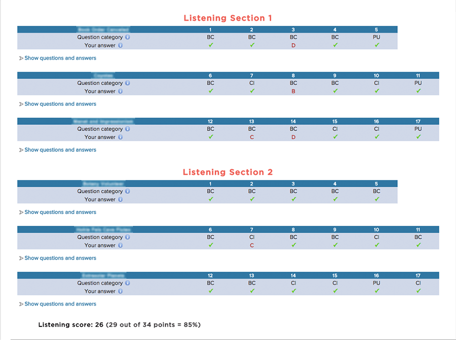 Listening Section of ScoreNexus TOEFL Score Report