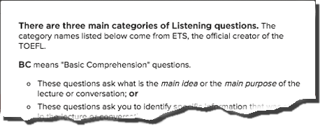 Listening Question Types