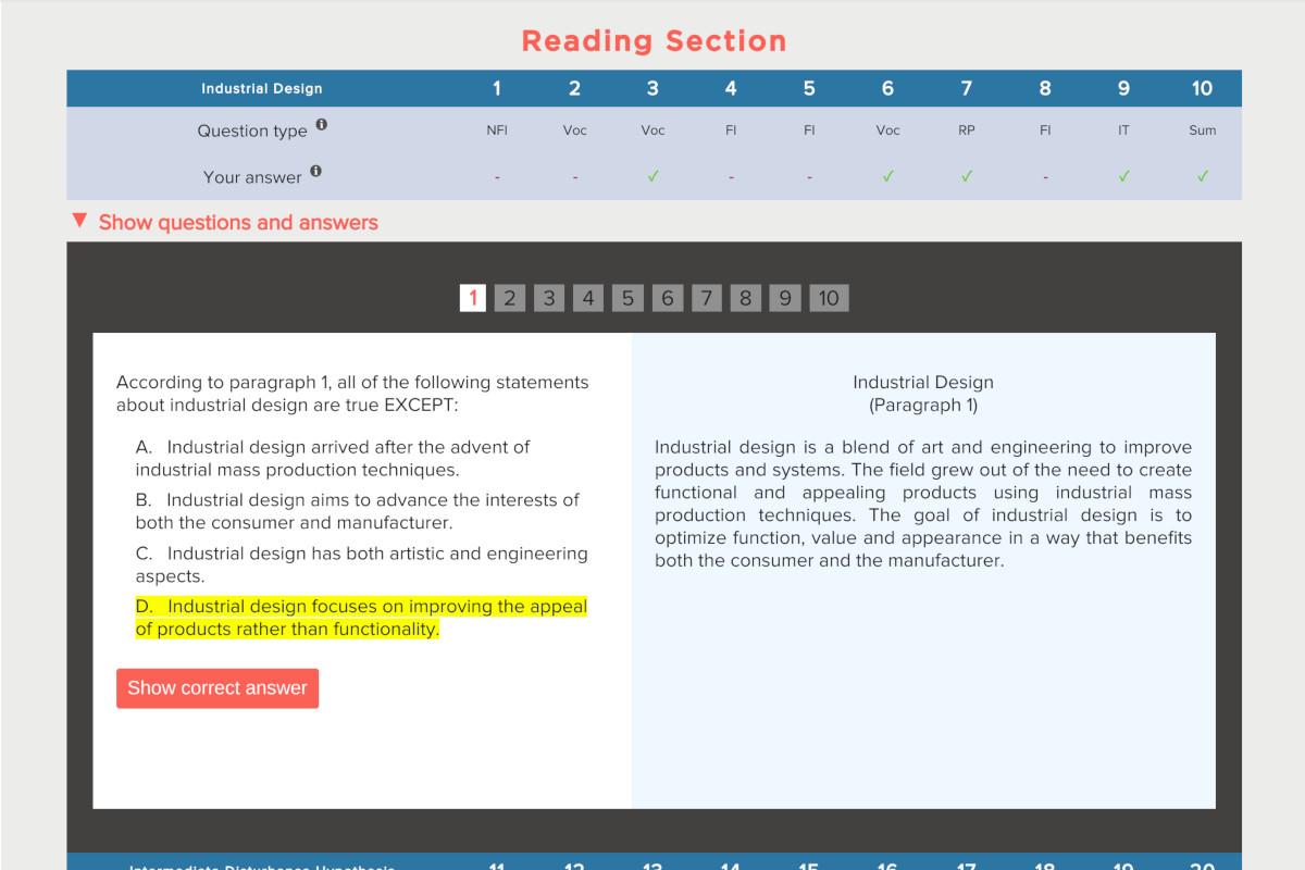 TOEFL Practice Test Score Report for Reading