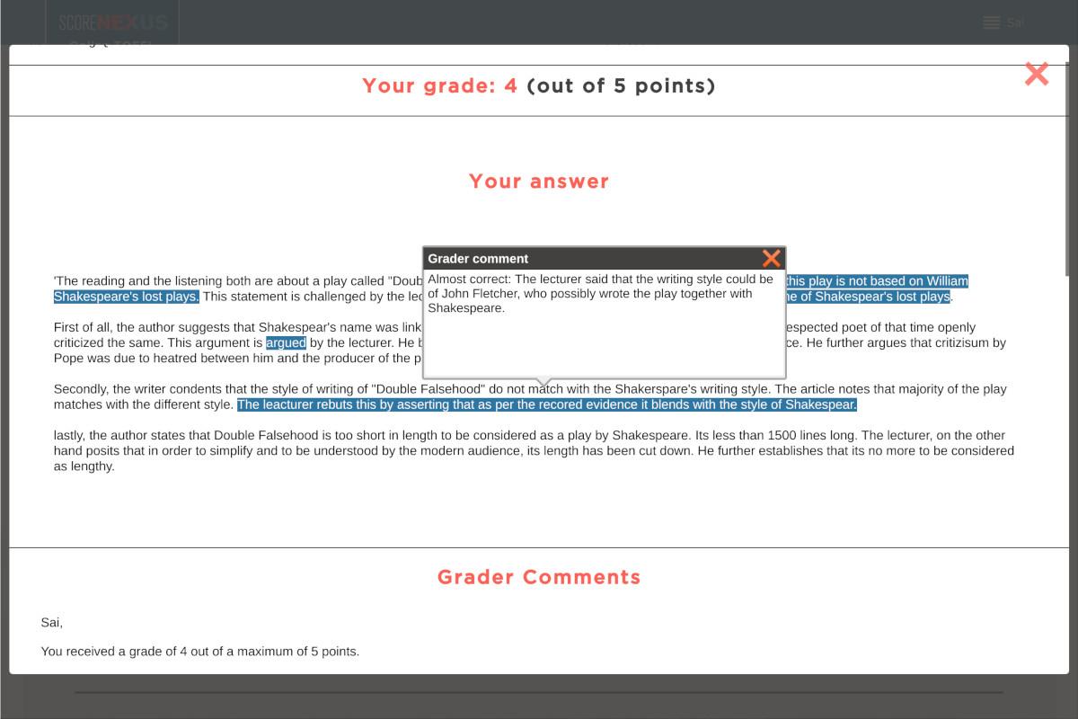 TOEFL Practice Test Score Report for Writing