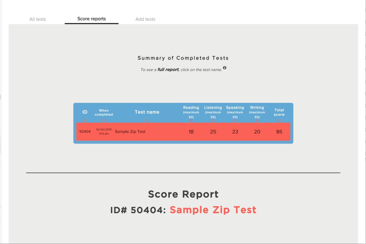 Free TOEFL Practice Test Score Report
