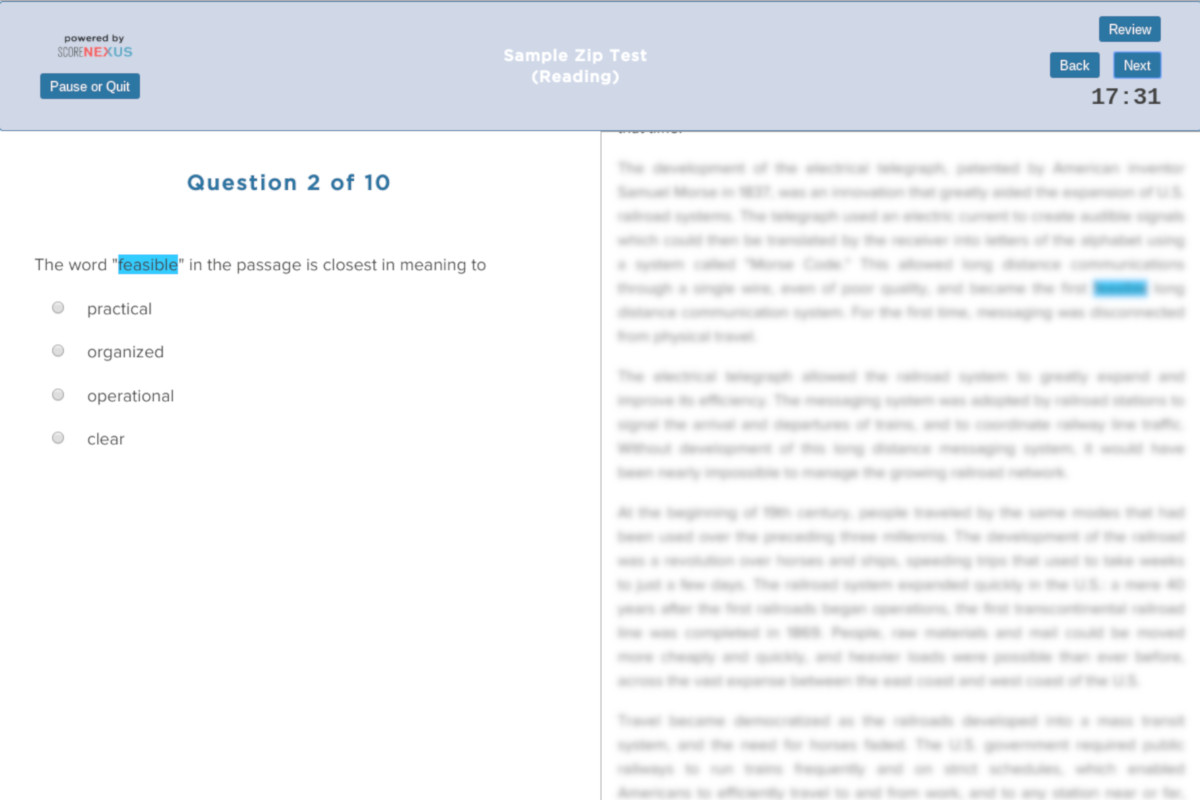Free TOEFL Practice Test Reading Section