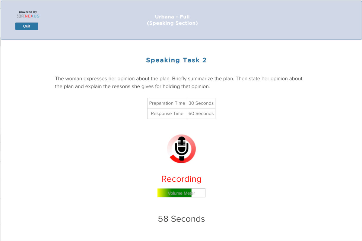 TOEFL Practice Test Speaking Section